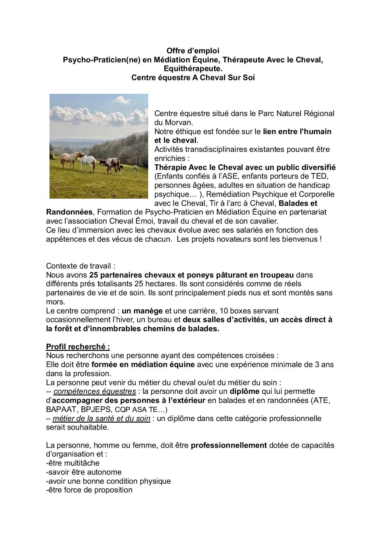 Offre d emploi Praticien(ne) en Médiation Equine A Cheval Sur Soi-page-001